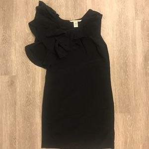 DVF Ruffle Black Dress